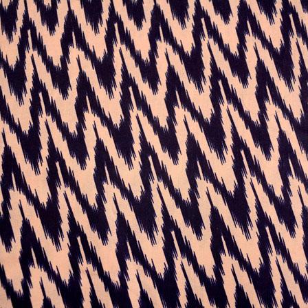 Blue and Beige Zig-Zag Design Kalamkari-Screen Fabric-5486