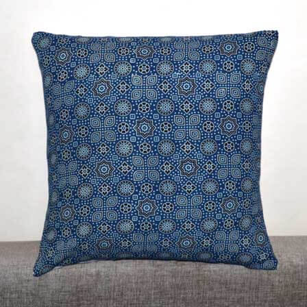 Blue and Black Ajrakh Work Block Print Cotton Cushion Cover
