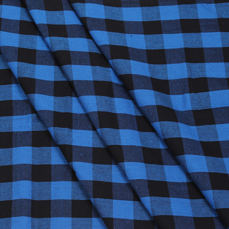 Blue and Black Tom Tom Checks Handloom Cotton Khadi Fabric-40033