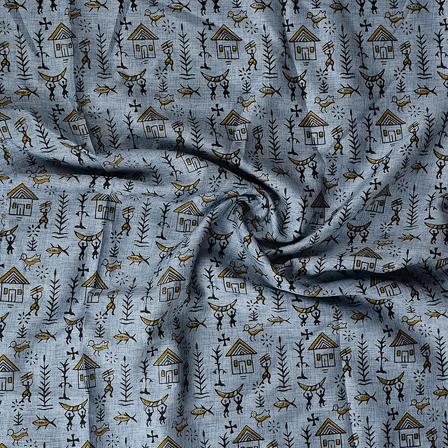Blue and Black Warli Kalamkari Manipuri Silk Fabric-16348