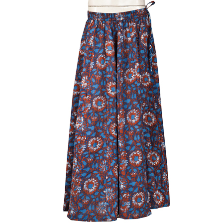 Blue and Brown Block Print Cotton Long Skirt-23079