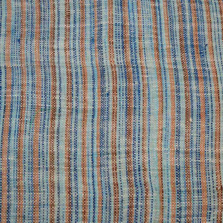 Blue and Brown Lining Design Cotton Jacquard Fabric-31031