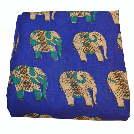 Blue and Cream Elephant Pattern Kalamkari Manipuri Silk-16023