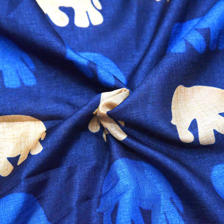 Blue and Cream Elephant Pattern Kalamkari Manipuri Silk-16151