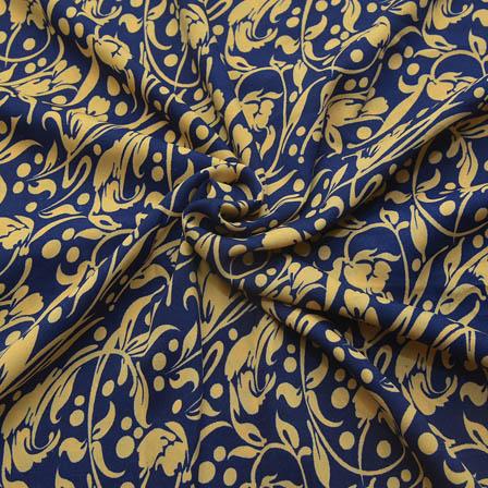 Blue and Cream Floral Design Crepe Fabric-18073