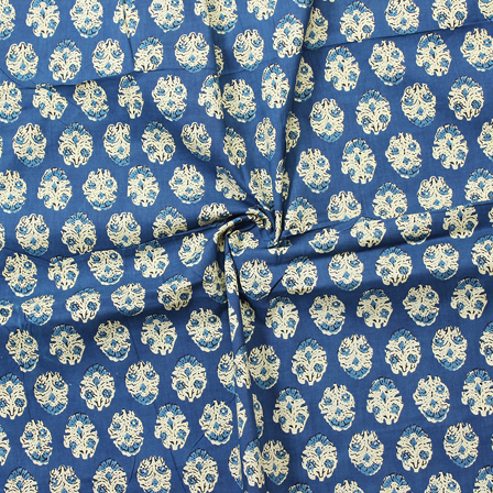 Blue and Cream Floral Pattern Block Print Cotton Fabric-14287
