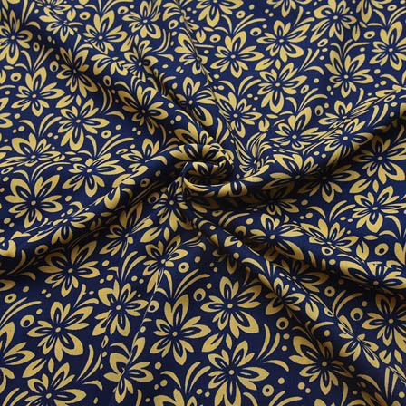 Blue and Cream Flower Pattern Crepe Fabric-18074