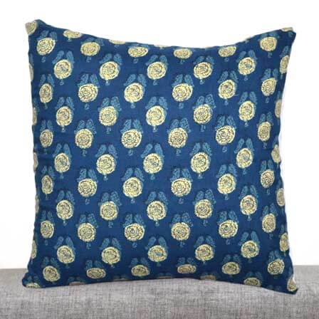 Blue and Cream Hand Block Print Cotton Cushion Cover