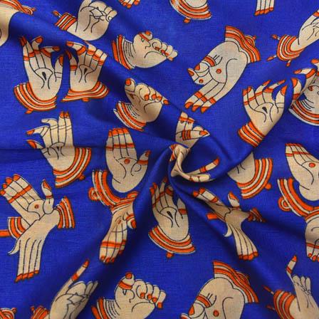 Blue and Cream Hand Mudra Shape Kalamkari Manipuri Silk-16055