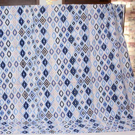 Blue and Cream India Handmade Kantha Quilt- 4337