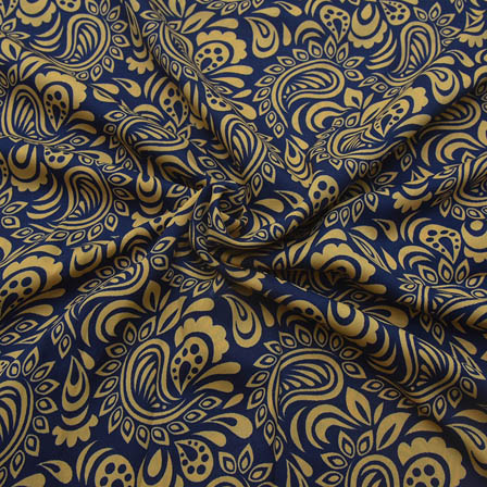 Blue and Cream Large Paisley Design Crepe Fabric-18075