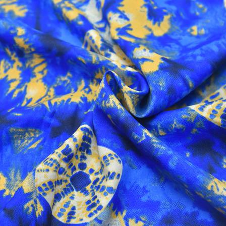 Blue and Cream Unique Design Crepe Fabric-18031