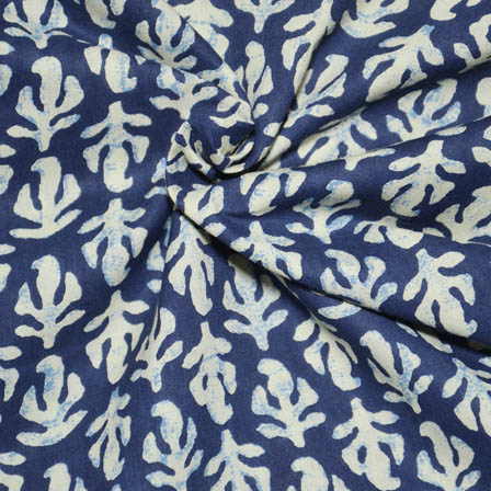 Blue and Cream leaf Shape Indigo Block Print Fabric-14007