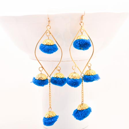 Blue and Gold Pom Pom Fabric Drop Jhumki for Women