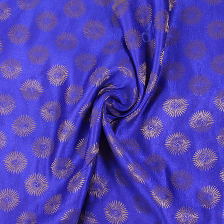 Blue and Golden Brocade Silk Fabric-8866