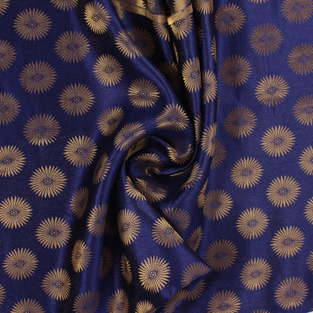 Blue and Golden Brocade Silk Fabric-8879