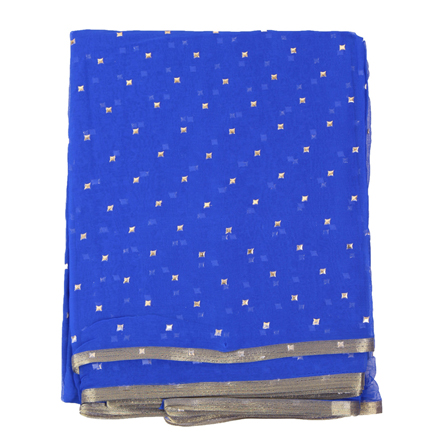 Blue and Golden Chiffon Fabric-29118