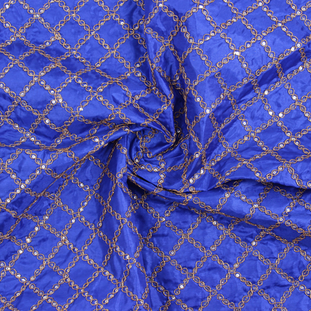 Blue and Golden Embroidery Silk Fabric-60903
