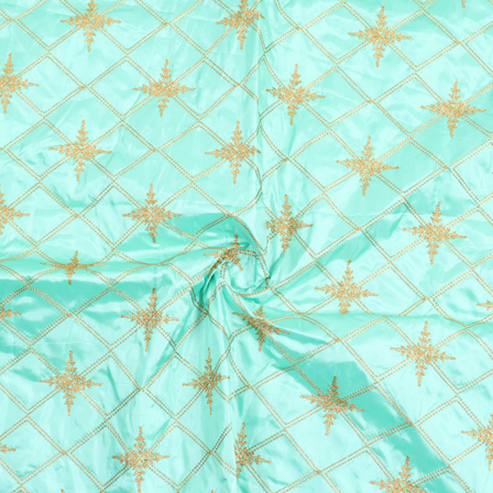 Blue and Golden Embroidery Silk Fabric-60910