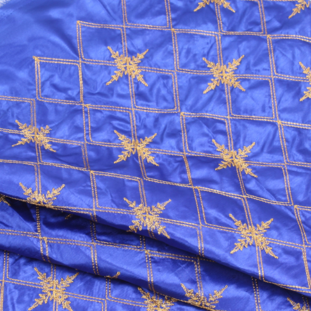 Blue and Golden Embroidery Silk Fabric-60911
