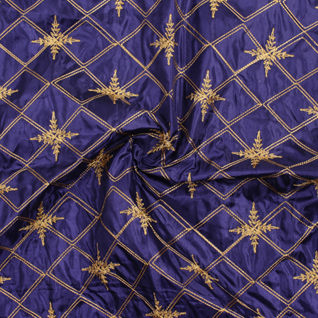 Blue and Golden Embroidery Silk Fabric-60913
