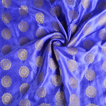 Blue and Golden Floral  Banarasi Brocade Fabric-8600