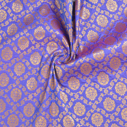 Blue and Golden Floral Brocade Banarasi Fabric-8671