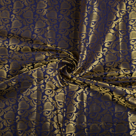 Blue and Golden Floral Brocade Silk Fabric-8558