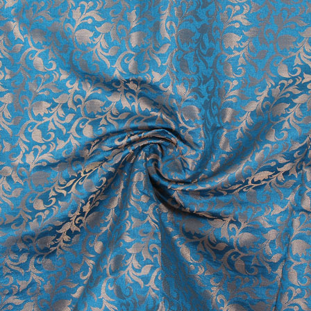 Blue and Golden Floral Brocade Silk Fabric-8904