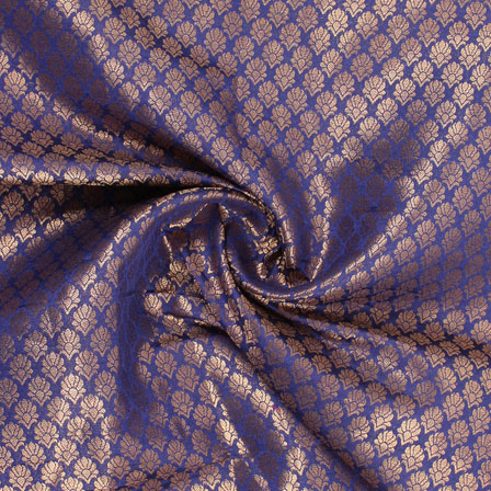 Blue and Golden Floral Brocade Silk Fabric-8925