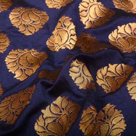 Blue and Golden Floral Design Brocade Silk Fabric-5364