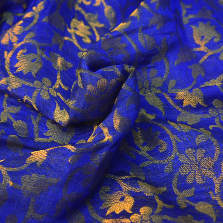 Blue and Golden Floral Design Brocade Silk Fabric-8204