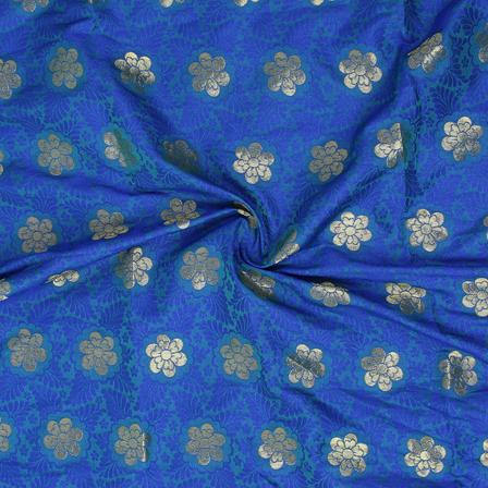 Blue and Golden Floral Design Brocade Silk Fabric-8352