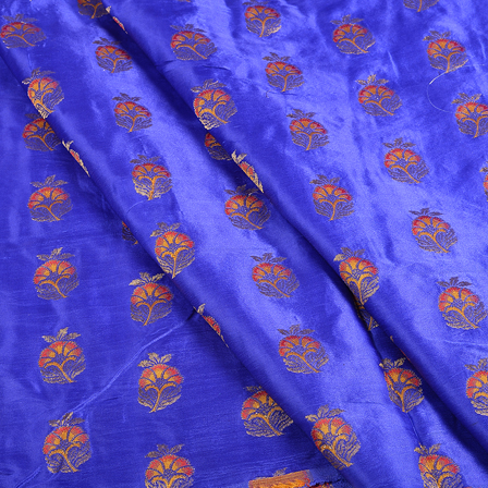 Blue and Golden Floral Jam Cotton Silk Fabric-75139
