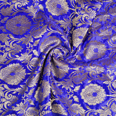 Blue and Golden Floral Kinkhab Banarasi Brocade Fabric-8514