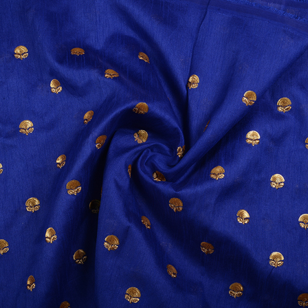 Blue and Golden Floral Malbari Embroidery Silk-60704