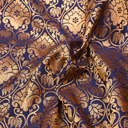 Blue and Golden Floral Pattern Brocade Silk Fabric-5379