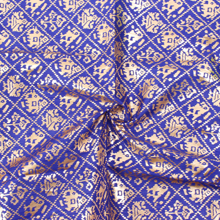 Blue and Golden Floral Pattern Brocade Silk Fabric-8325
