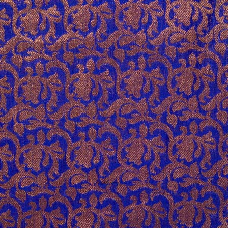 Blue and Golden Floral Pattern Brocade Silk Fabric by the yard