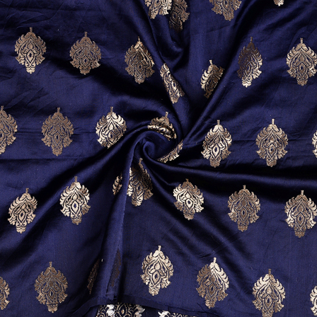 Blue and Golden Floral Silk Satin Brocade Fabric-8677
