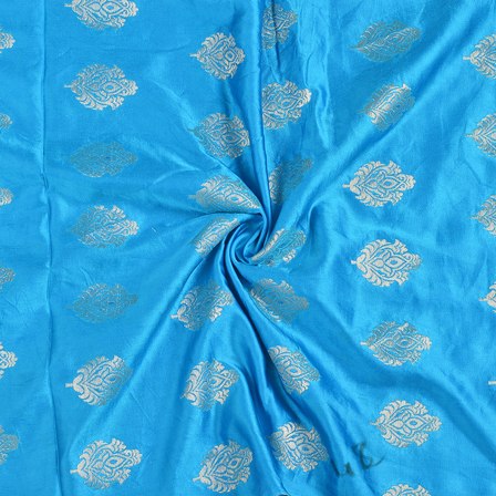 Blue and Golden Floral Silk Satin Brocade Fabric-8687