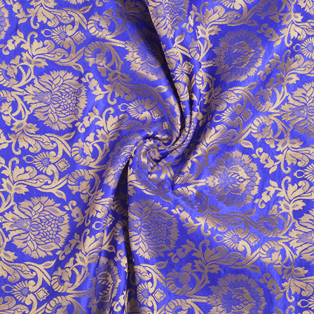 Blue and Golden Flower Brocade Banarasi Fabric-8667