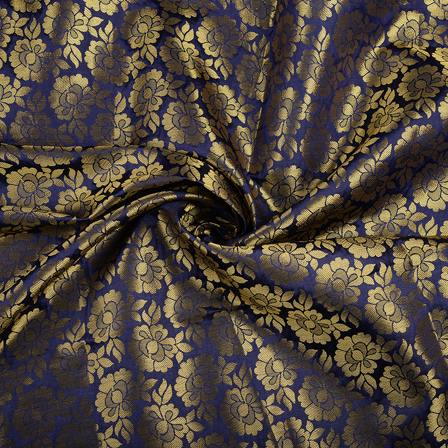Blue and Golden Flower Brocade Silk Fabric-8544