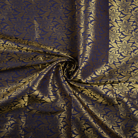 Blue and Golden Flower Brocade Silk Fabric-8553