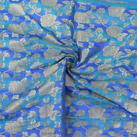 Blue and Golden Flower Brocade Silk Fabric-8858