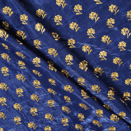 Blue and Golden Flower Design Silk Embroidery Fabric-60402