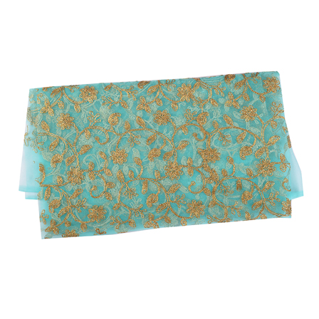 Blue and Golden Flower Embroidery Net Fabric-60536