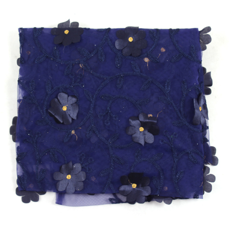Blue and Golden Flower Net Embroidery Fabric-60864