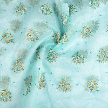 Blue and Golden Flower Organza Embroidery Fabric-51204