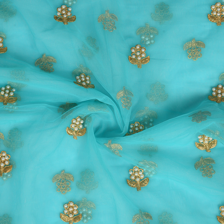 Green and Golden Flower With Pearl Design Embroidery Net Fabric-60308